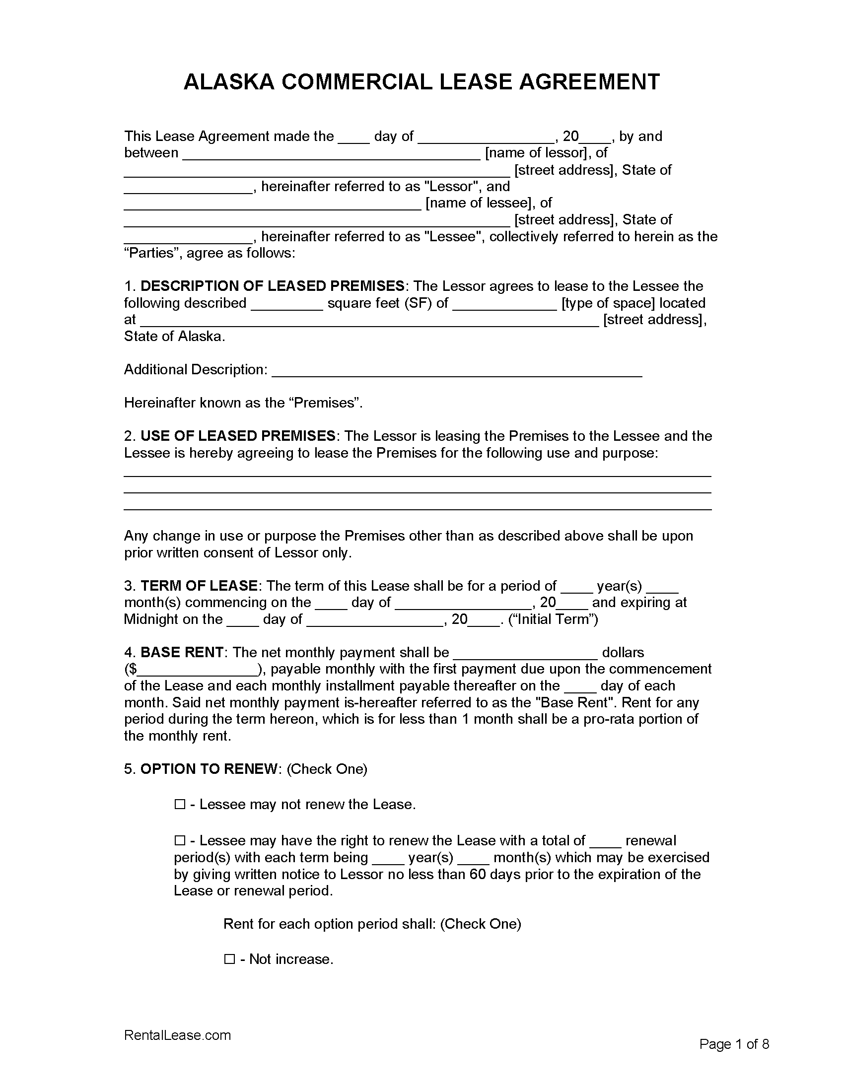 Free Alaska Commercial Lease Agreement Template Pdf Word