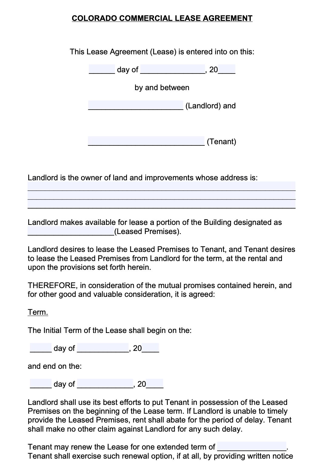 Free Colorado Commercial Lease Agreement Template Pdf