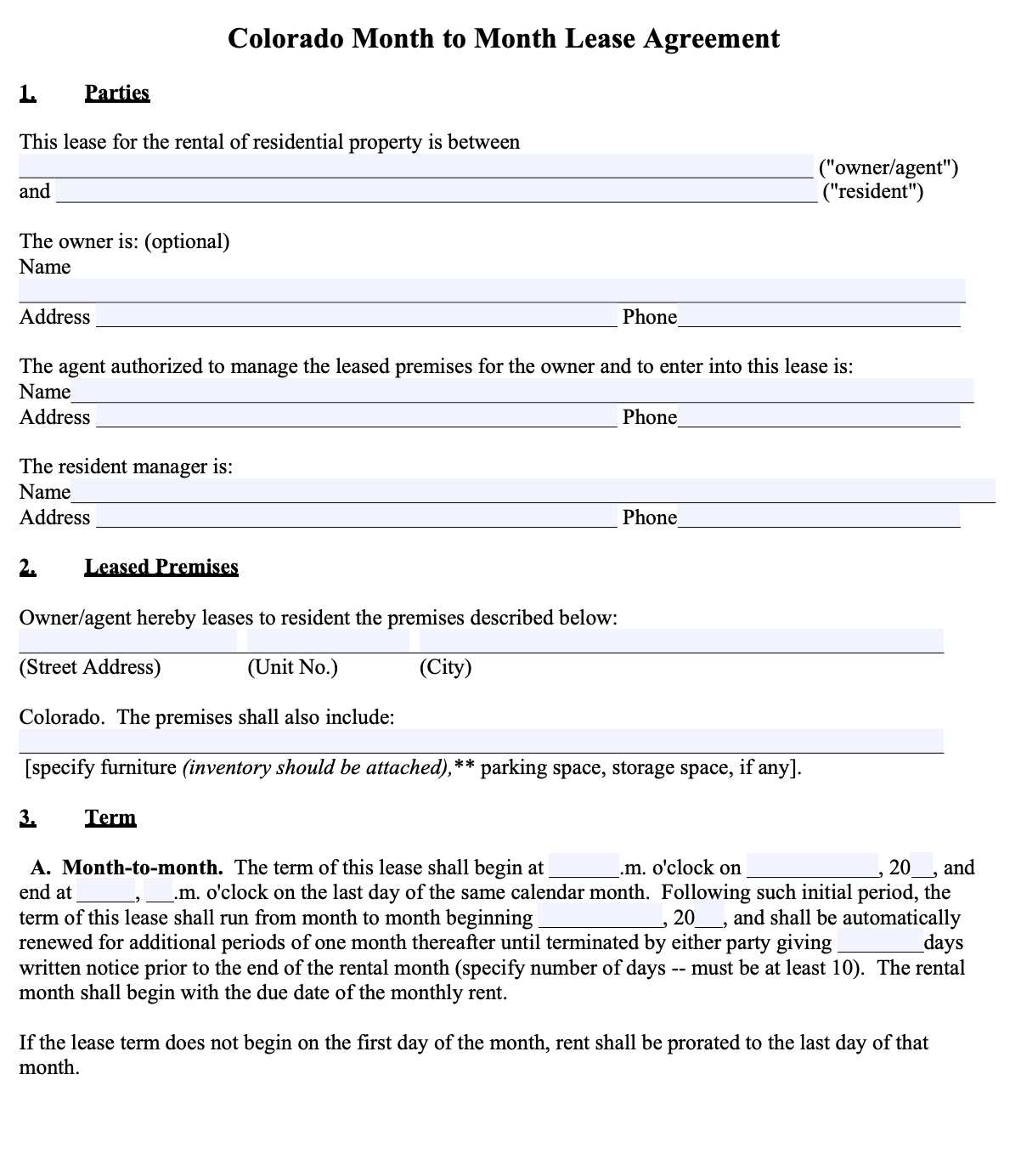 Free Colorado Month To Month Lease Agreement Template Pdf