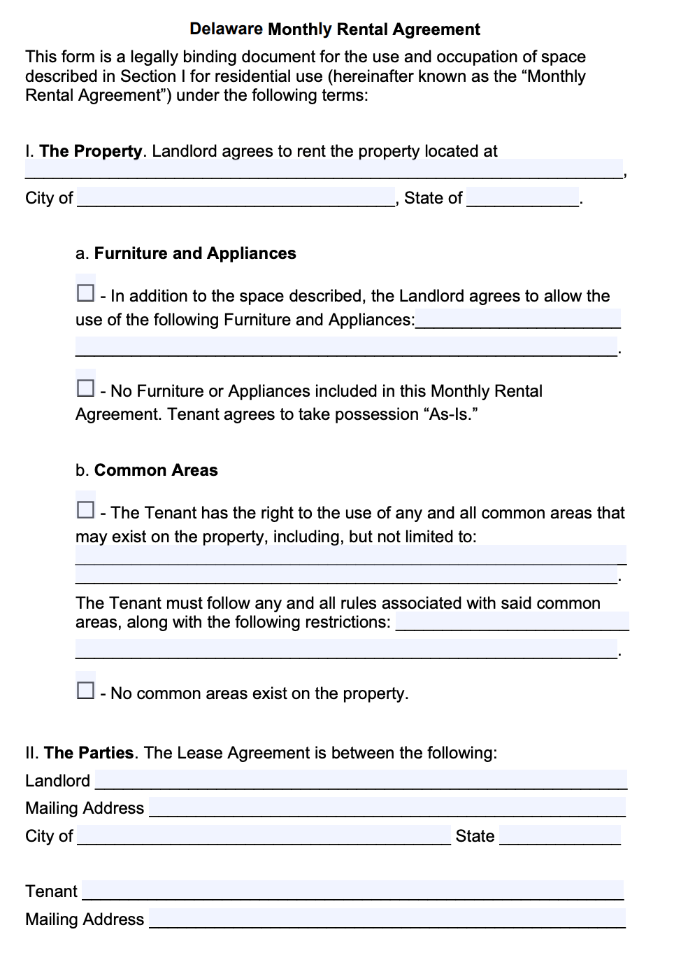 Free Delaware Month To Month Lease Agreement Template Pdf