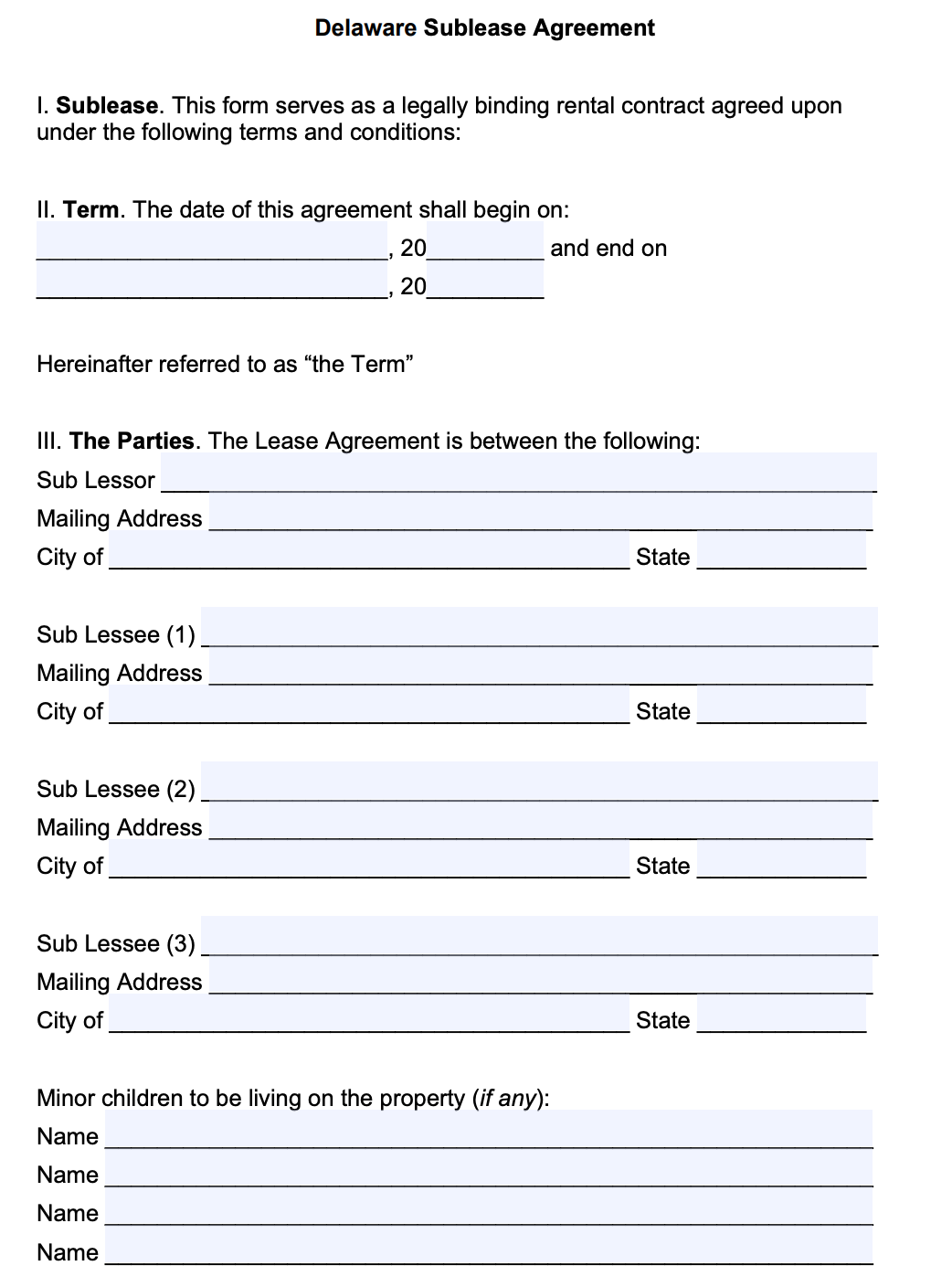 Free Delaware Sublease Agreement Template Pdf Word Doc