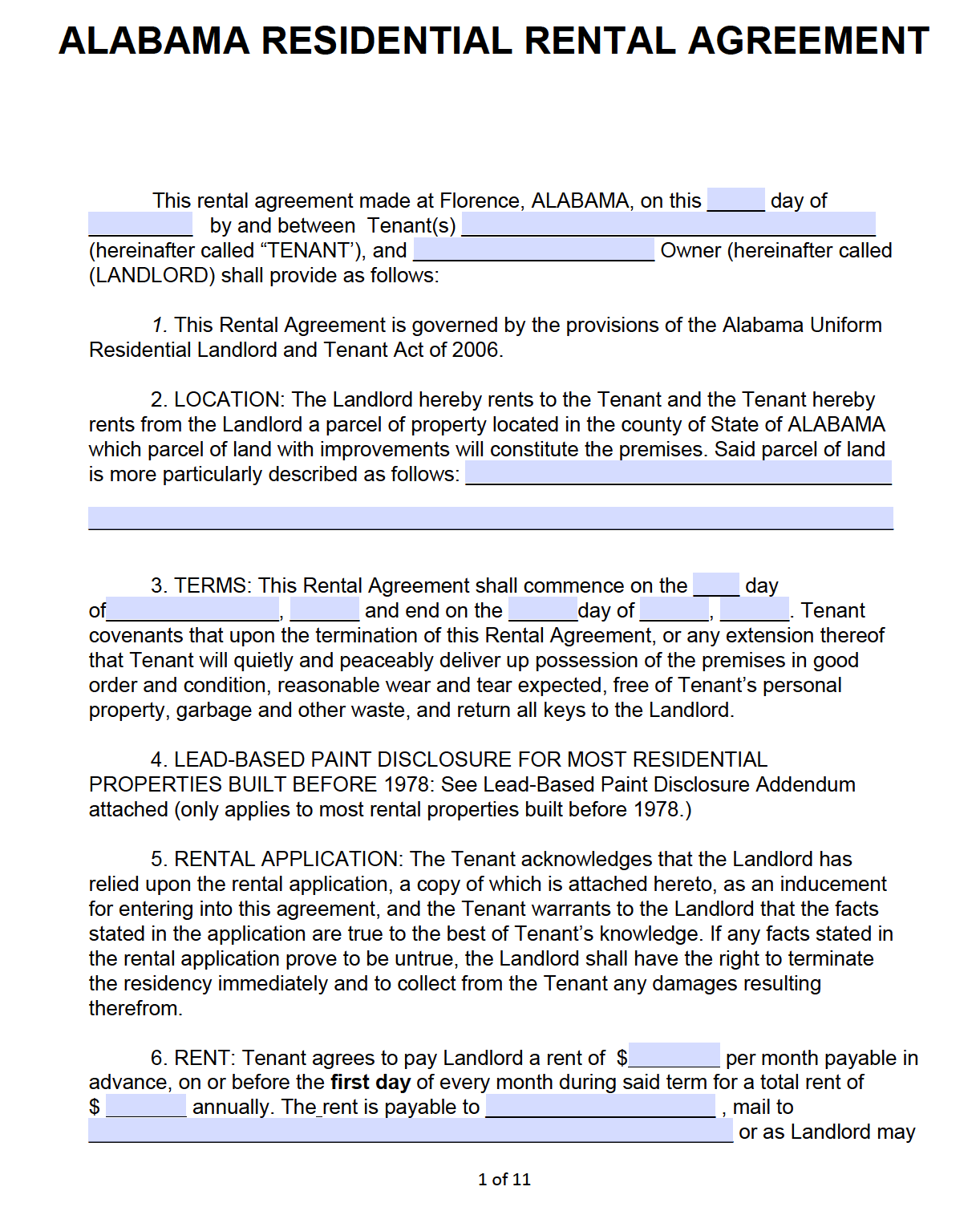 Free Alabama Standard Residential Lease Agreement Template