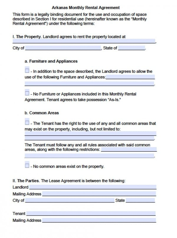 Free Arkansas Month-to-Month Lease Agreement PDF Word (doc)