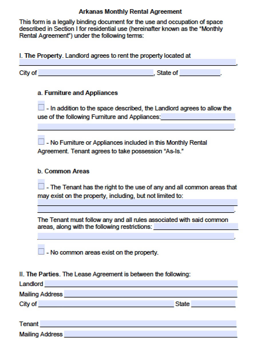 Free Arkansas Month To Month Lease Agreement Template Pdf