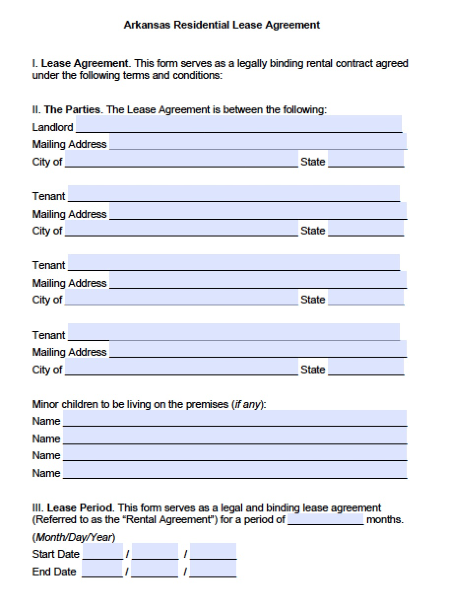 Free Arkansas Standard Residential Lease Agreement Template