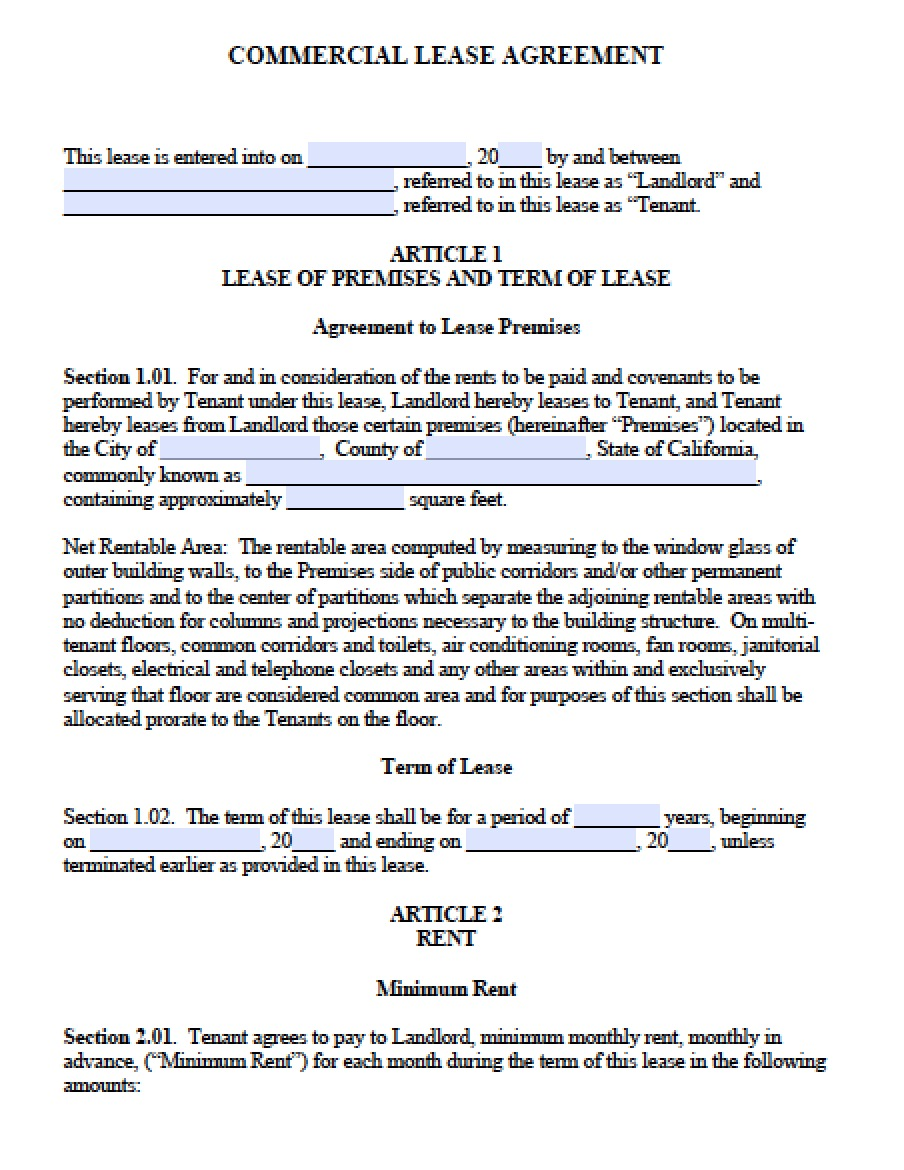 Free California Mercial Lease Agreement PDF