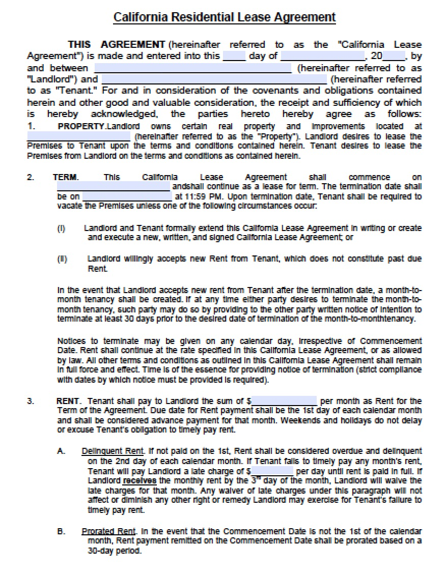 Free California Residential Lease Agreement Pdf Word C