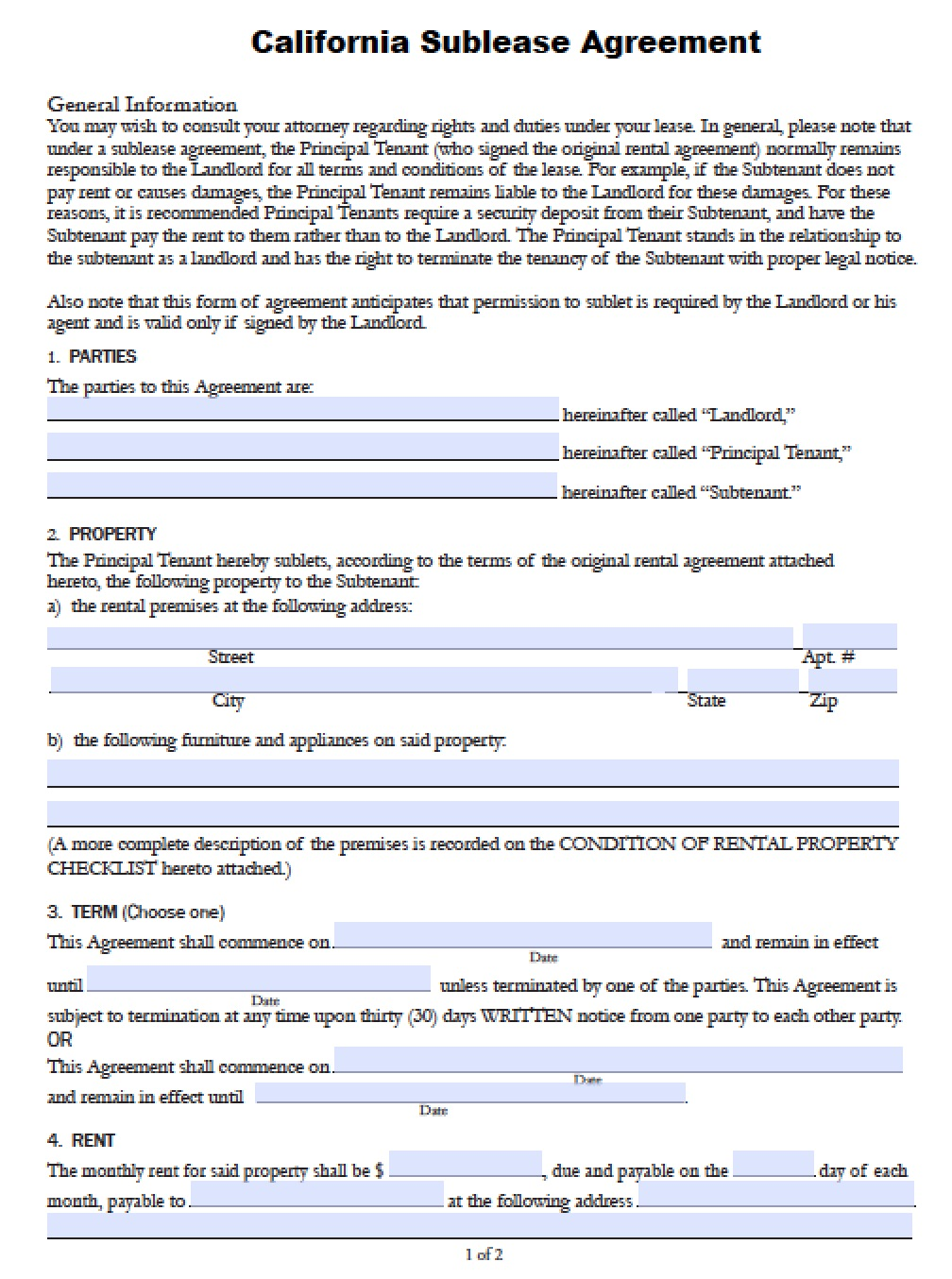 Free California SubLease Agreement PDF Word Doc - Ms word rental agreement template