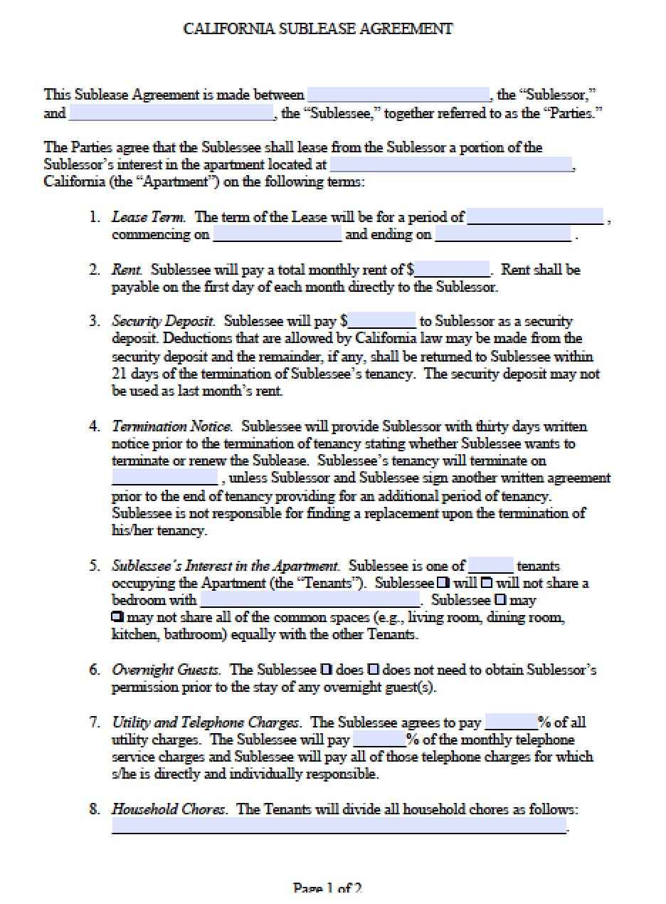 Free California Sub Lease Agreement Pdf Word C