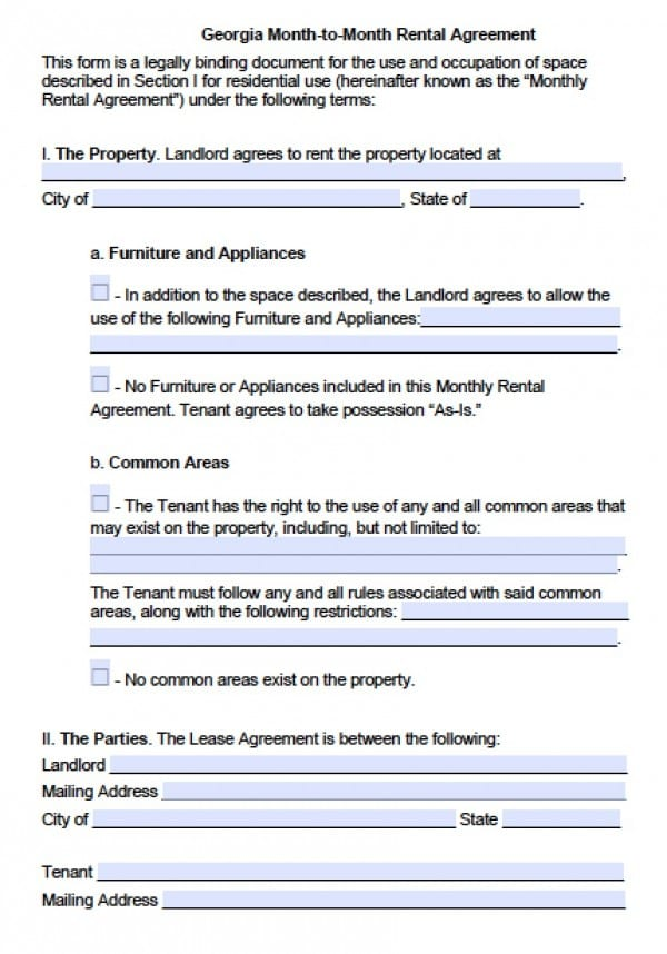 Free Georgia Month To Month Lease Agreement Pdf Word Doc