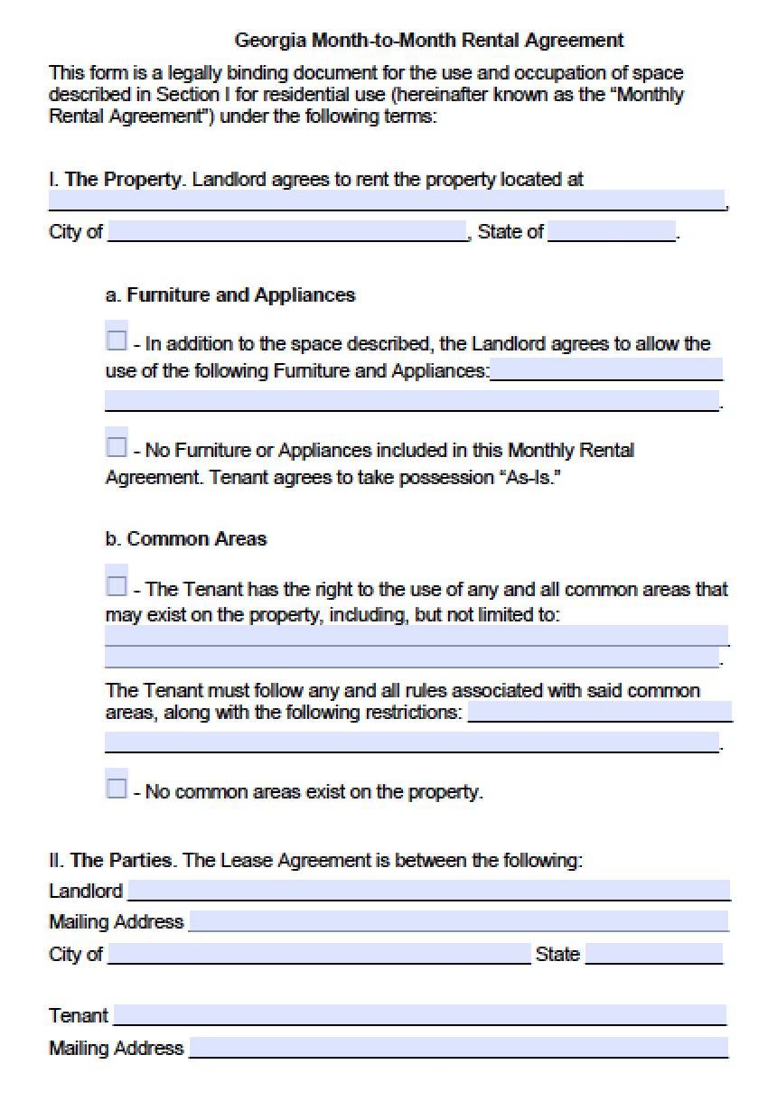 Free Georgia Month To Month Lease Agreement Template Pdf