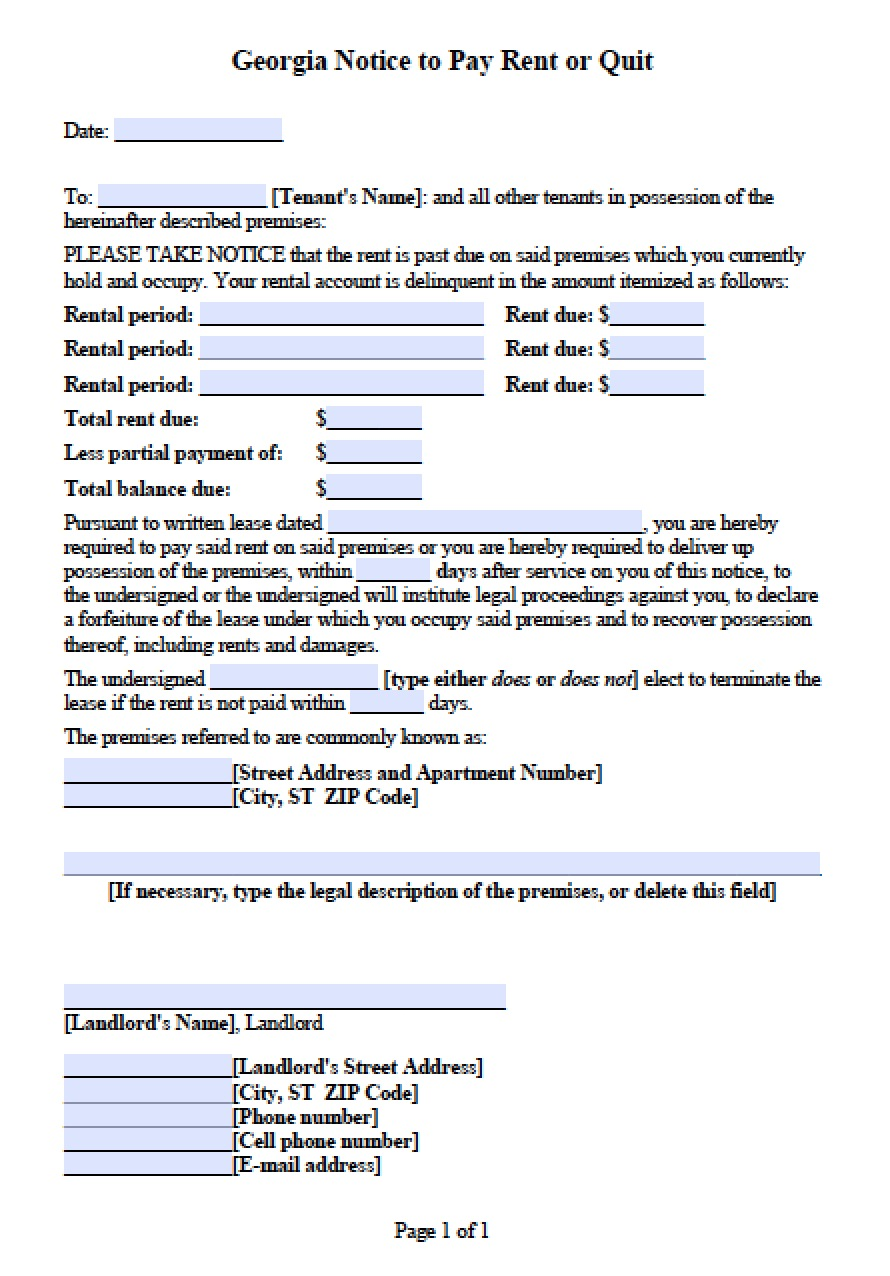 Georgia Eviction Notice | PDF | Word  Eviction Form Template