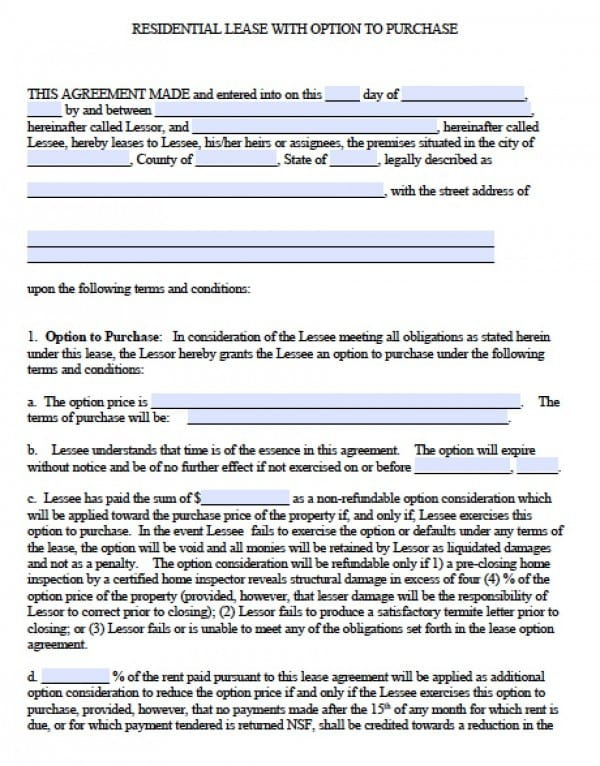 Lease W/Option To Purchase | PDF | Word  Free Blank Lease Agreement Forms
