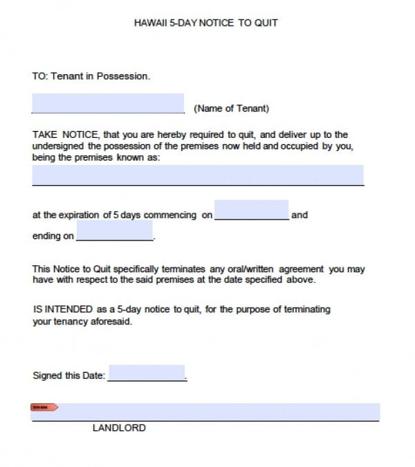 Hawaii 5 Day Eviction Notice | PDF | Word  Eviction Form Template