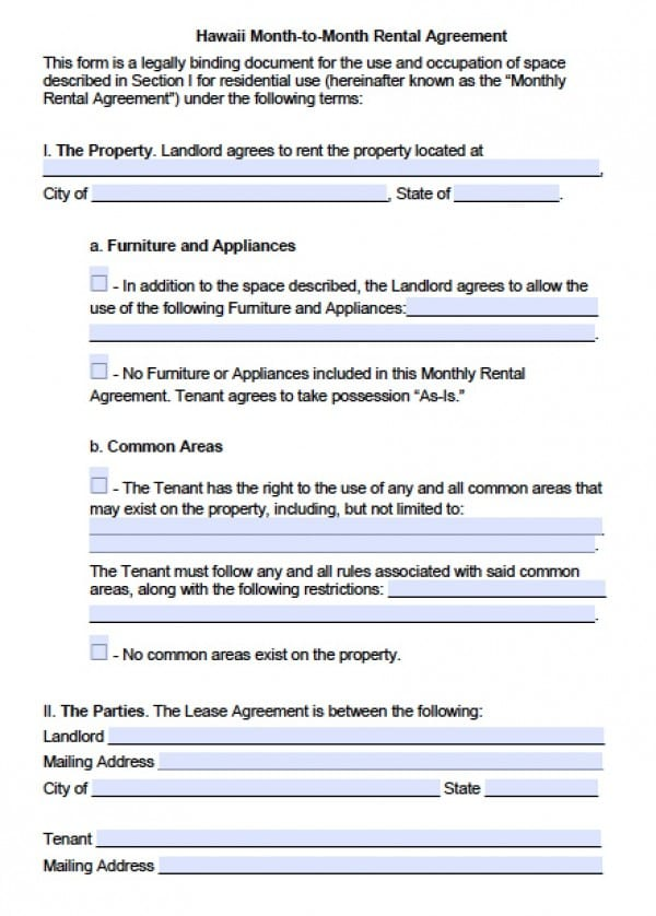 rental agreement hawaii Free Hawaii Month-to-Month Lease Agreement | PDF | Word (.doc)