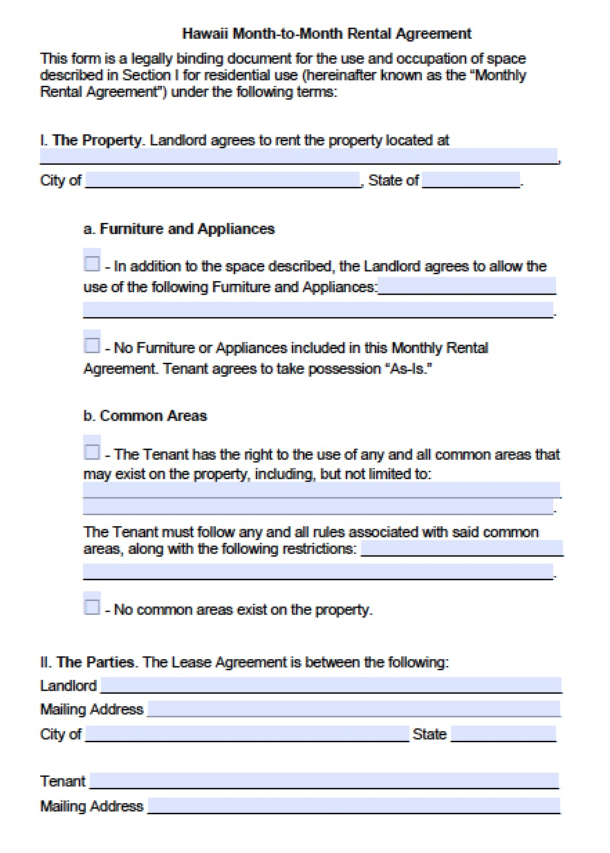 Free Hawaii Month-to-Month Lease Agreement Template | PDF