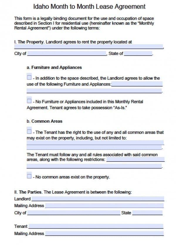 Free Idaho Month To Month Rental Agreement Pdf Word Doc