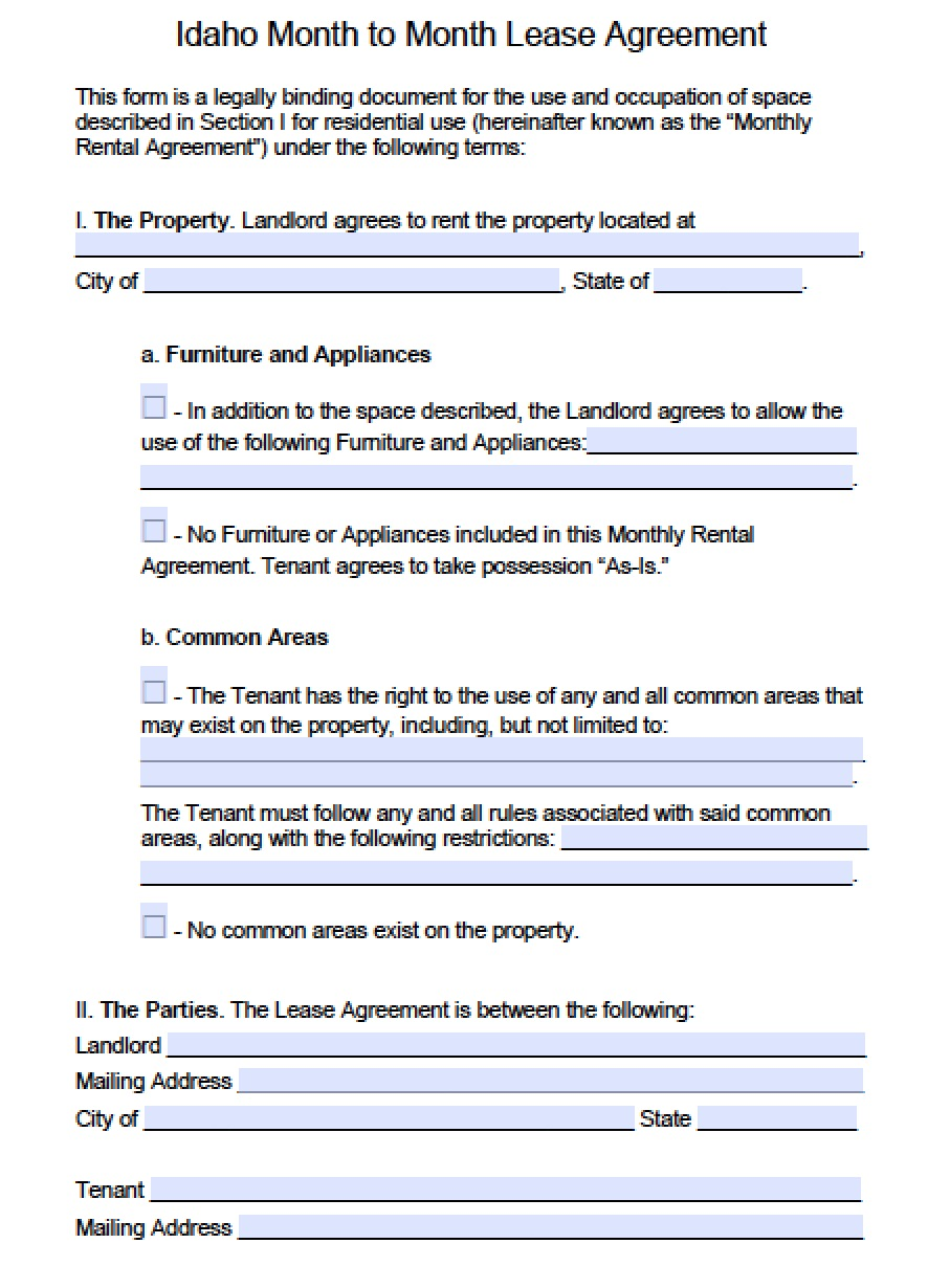 Free Idaho Month To Month Rental Agreement Template Pdf