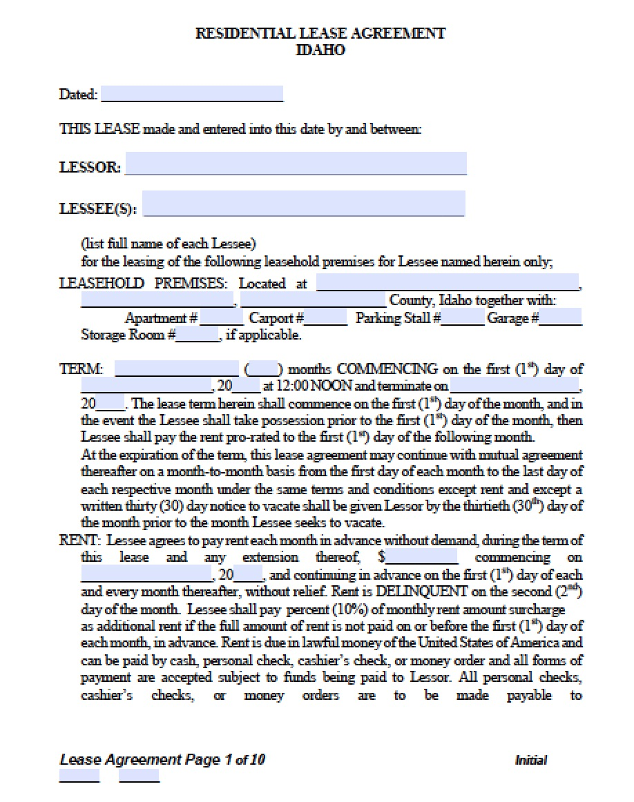 Free Idaho Residential Lease Agreement Template Pdf Word