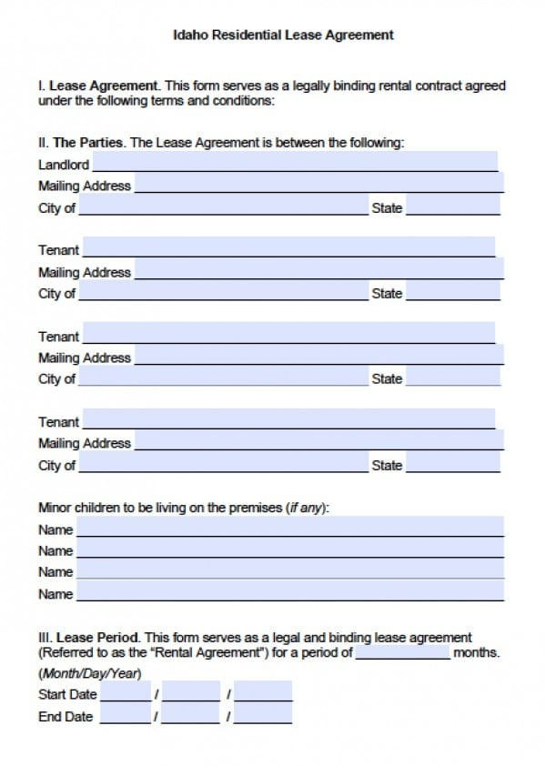 Free Idaho Residential Lease Agreement Pdf Word Doc