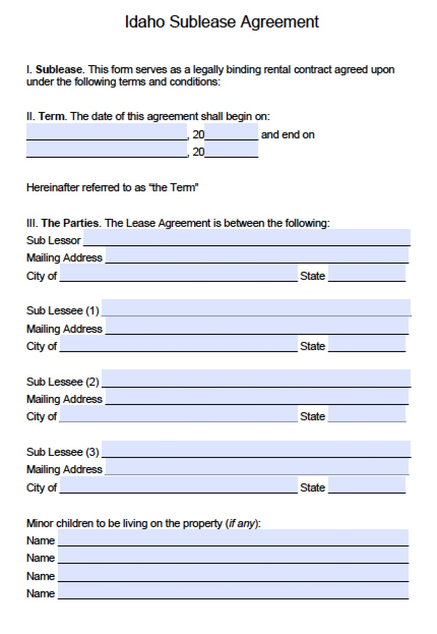 Free Idaho Sublease Agreement Template Pdf Word Doc