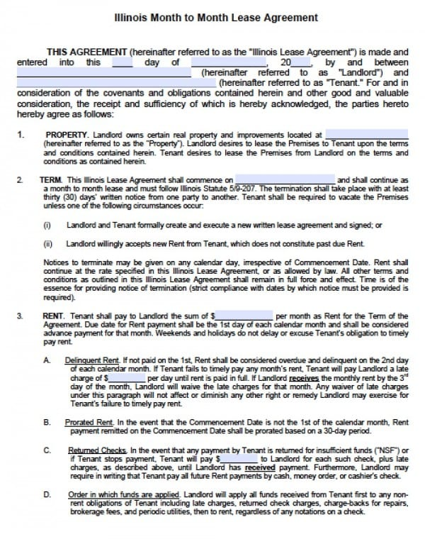 Free Illinois MonthToMonth Lease Agreement  Pdf  Word Doc