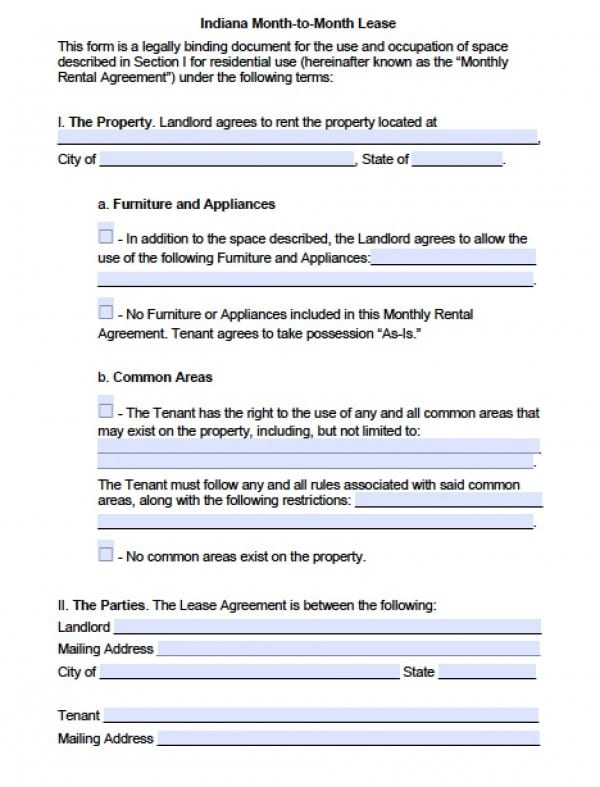 Indiana Month to Month Lease Agreement | PDF | Word