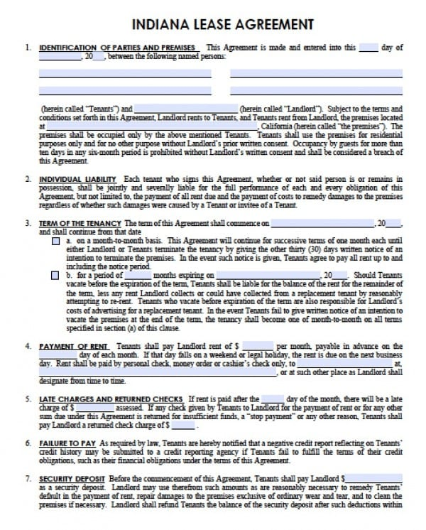 Free Indiana Residential Lease Agreement PDF Word Doc - Template for a rental lease agreement