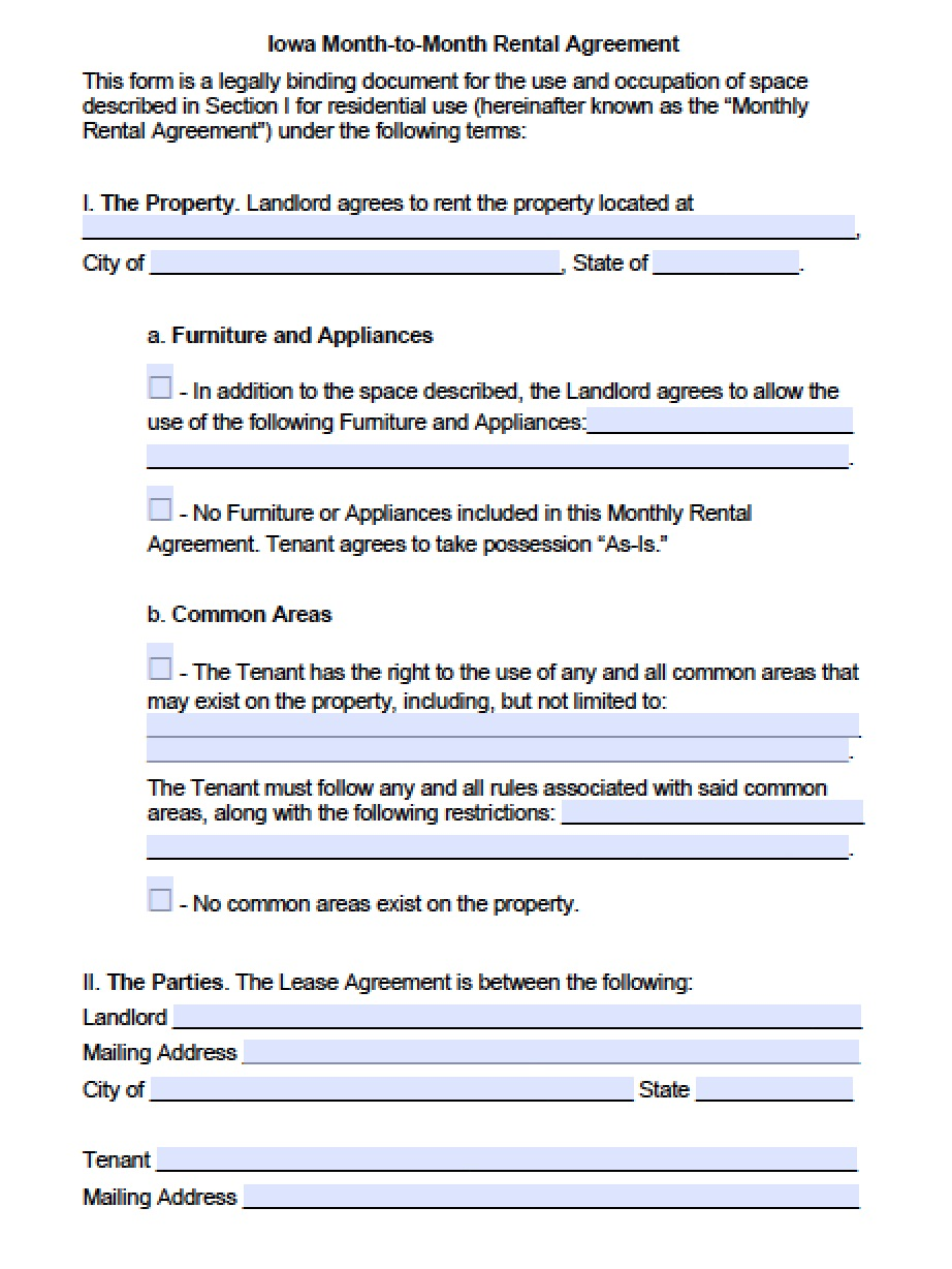 Free Iowa Month To Month Rental Agreement Pdf Word Doc