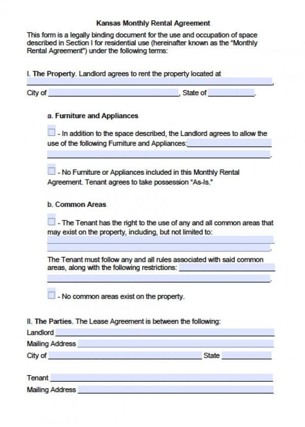 Free Kansas Month To Month Lease Agreement Pdf Word C