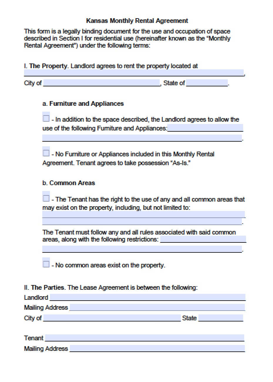 Free Kansas Month To Month Lease Agreement Template Pdf