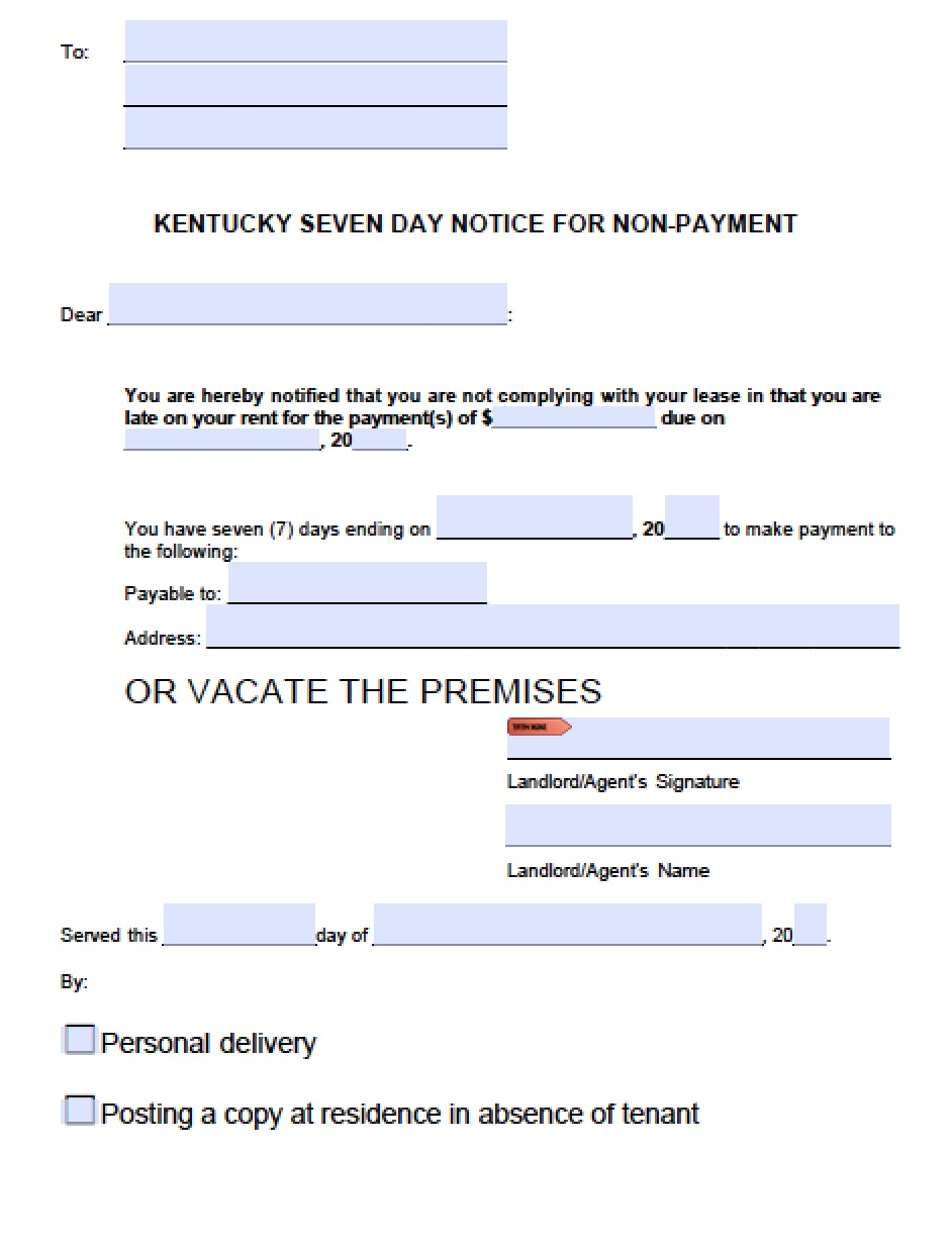 Free Kentucky 7 Day Notice To Quit For Non Payment Of Rent