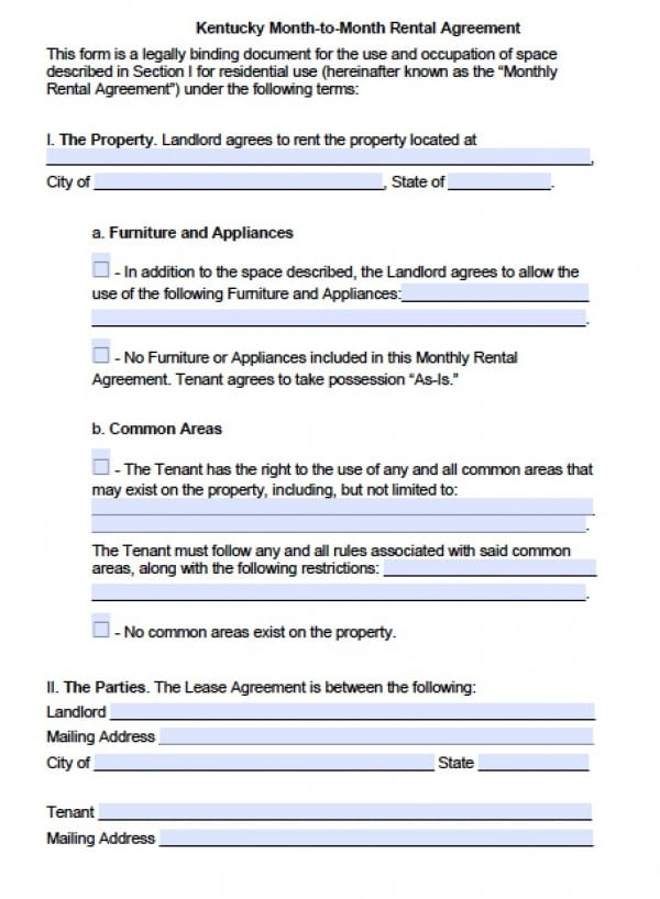 Free Kentucky Month To Month Lease Agreement Pdf Word C