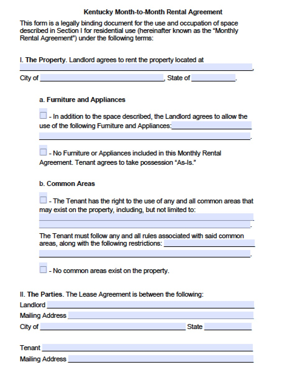 Free Kentucky Month To Month Lease Agreement Template Pdf