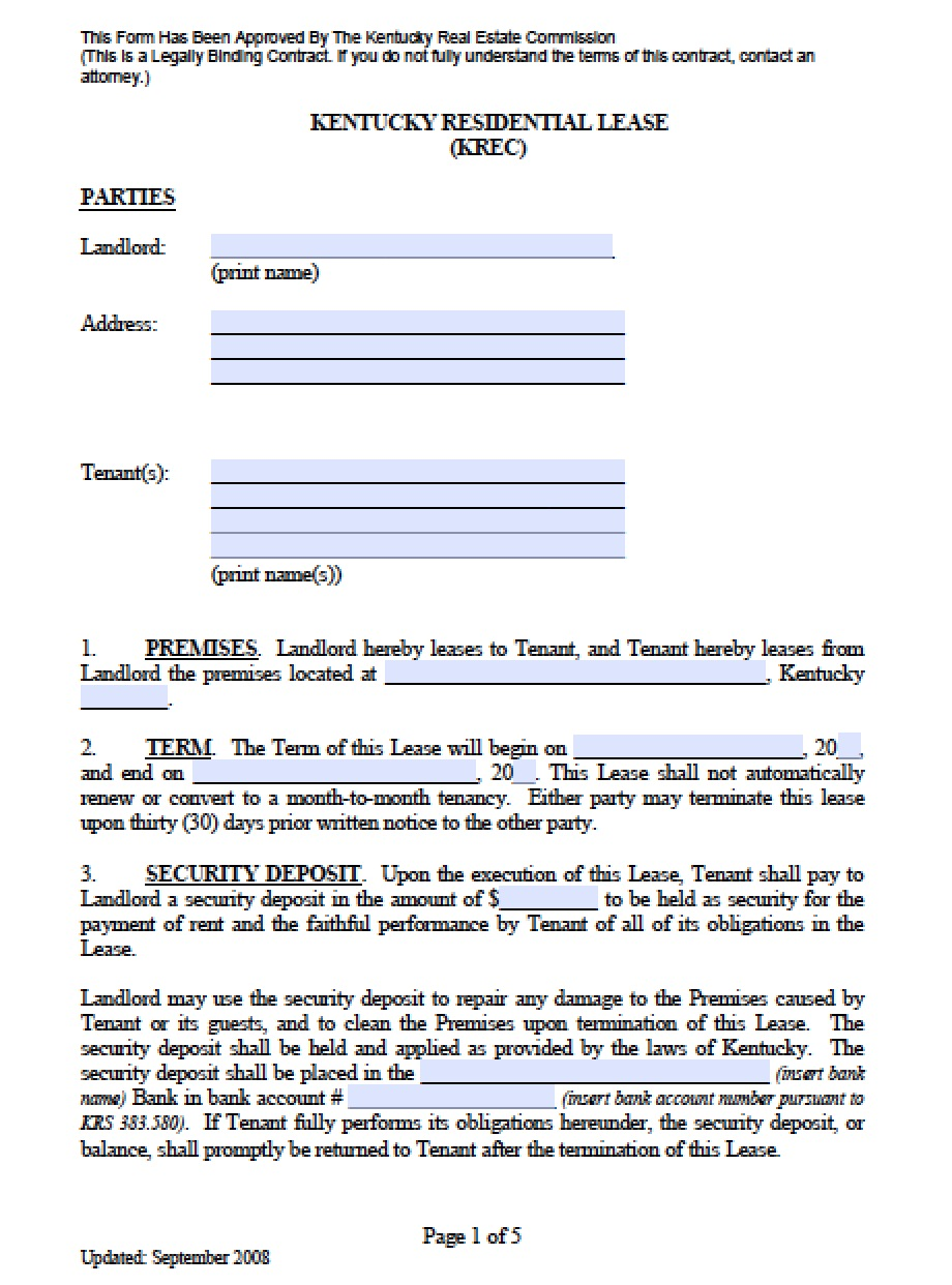 Free Kentucky Standard Residential Lease Agreement Template