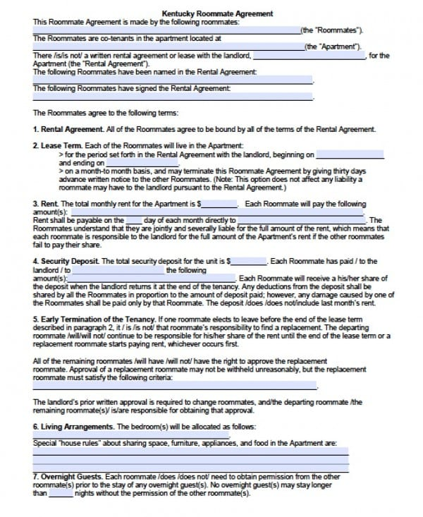 Roommate Agreement | PDF | Word