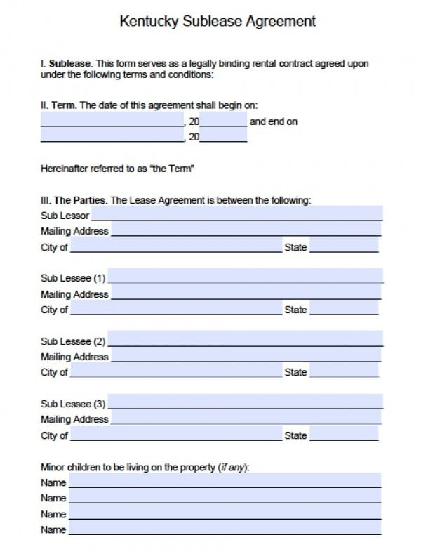 Free Kentucky Sub Lease Agreement Pdf Word Doc