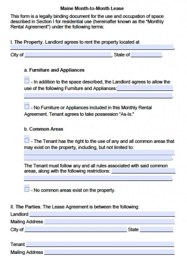 Free Maine MonthToMonth Lease Agreement  Pdf  Word Doc