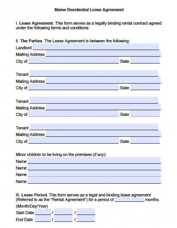 free maine residential lease agreement