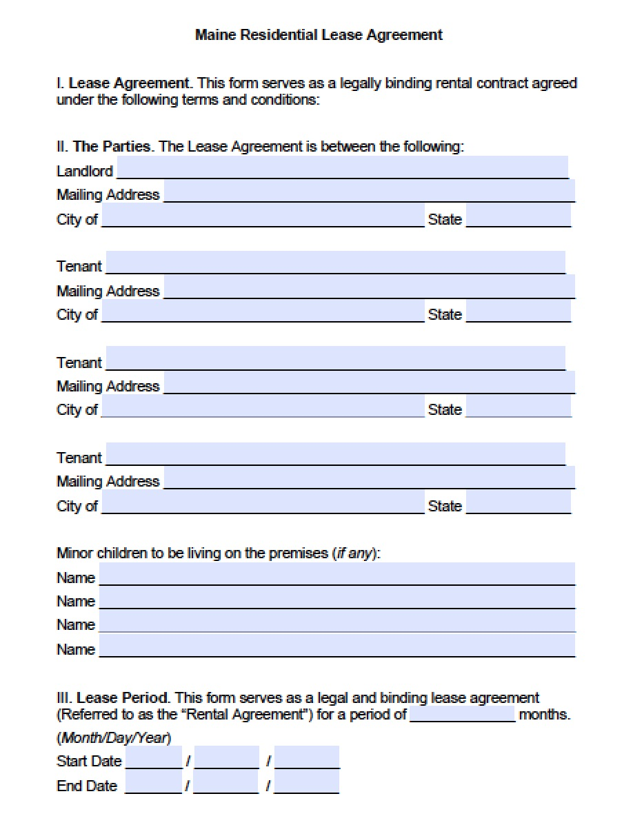 Free Maine Standard Residential Lease Agreement Template
