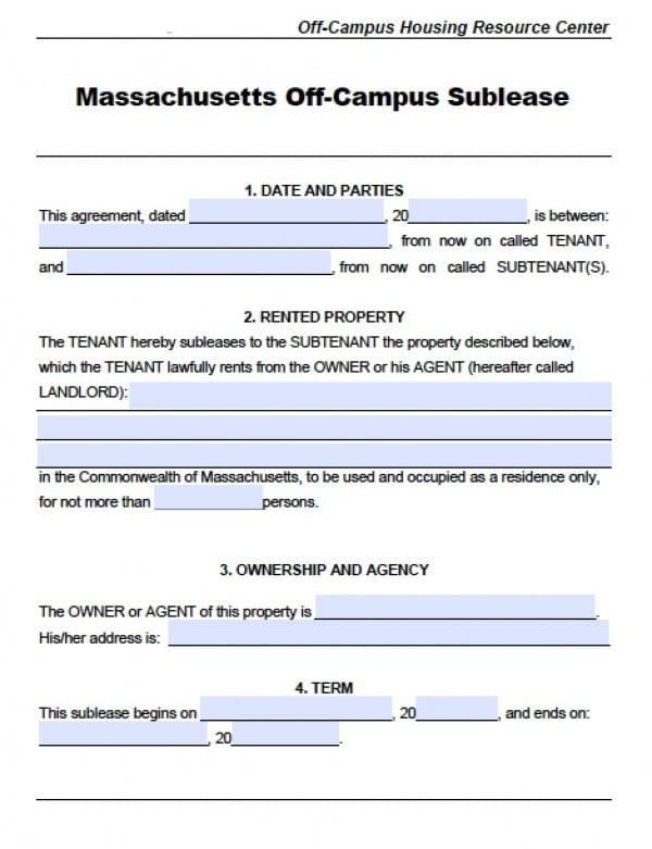 Free Massachusetts SubLease Agreements PDF – Sublet Agreement Template