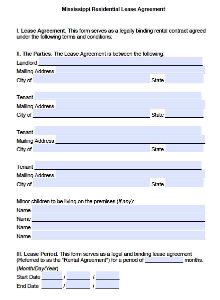 Free Mississippi Standard Residential Lease Agreement