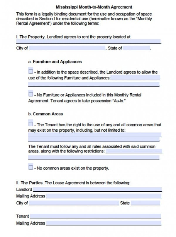 Mississippi Month to Month Rental Agreement | PDF | Word
