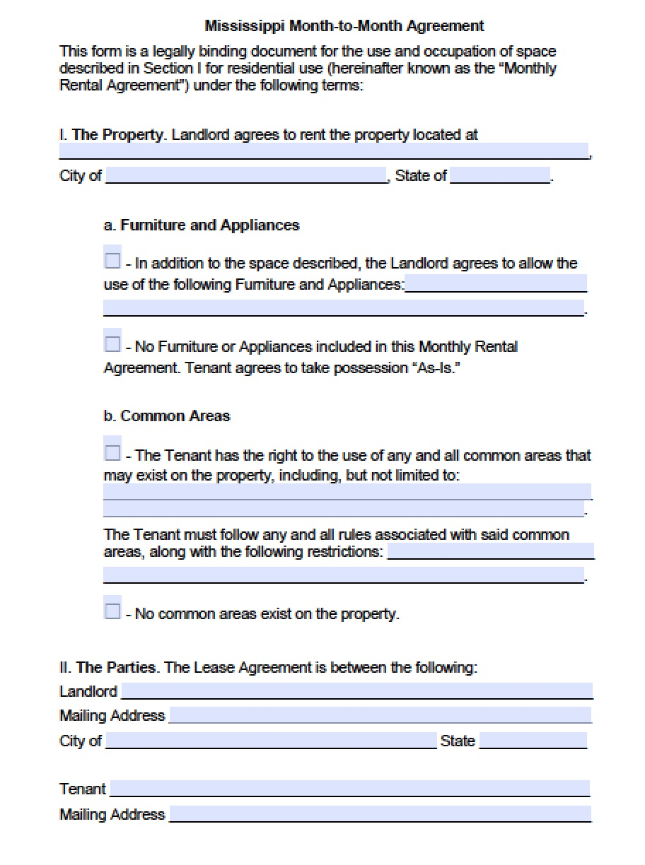 Free Mississippi Month To Month Lease Agreement Template