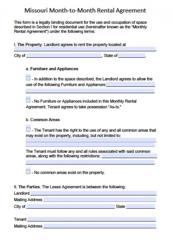 Free Missouri Month To Month Lease Agreement Pdf Word C