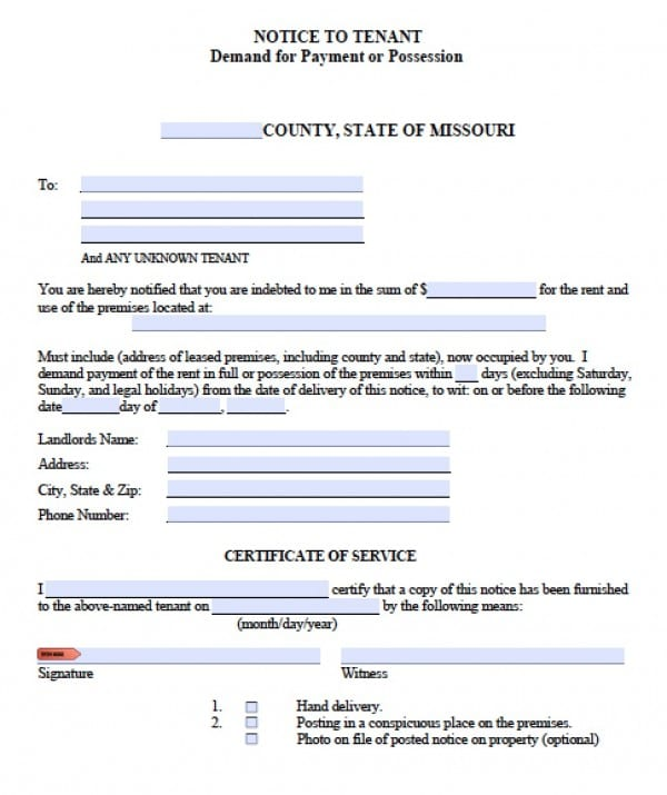 Free Missouri Notice to Quit – Tenant Eviction Notice Form