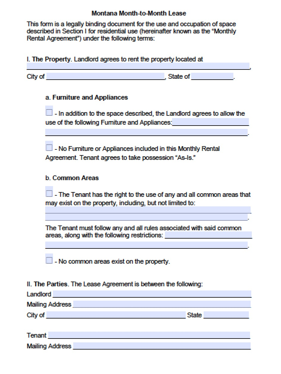 Free Montana Month To Month Lease Agreement Template Pdf