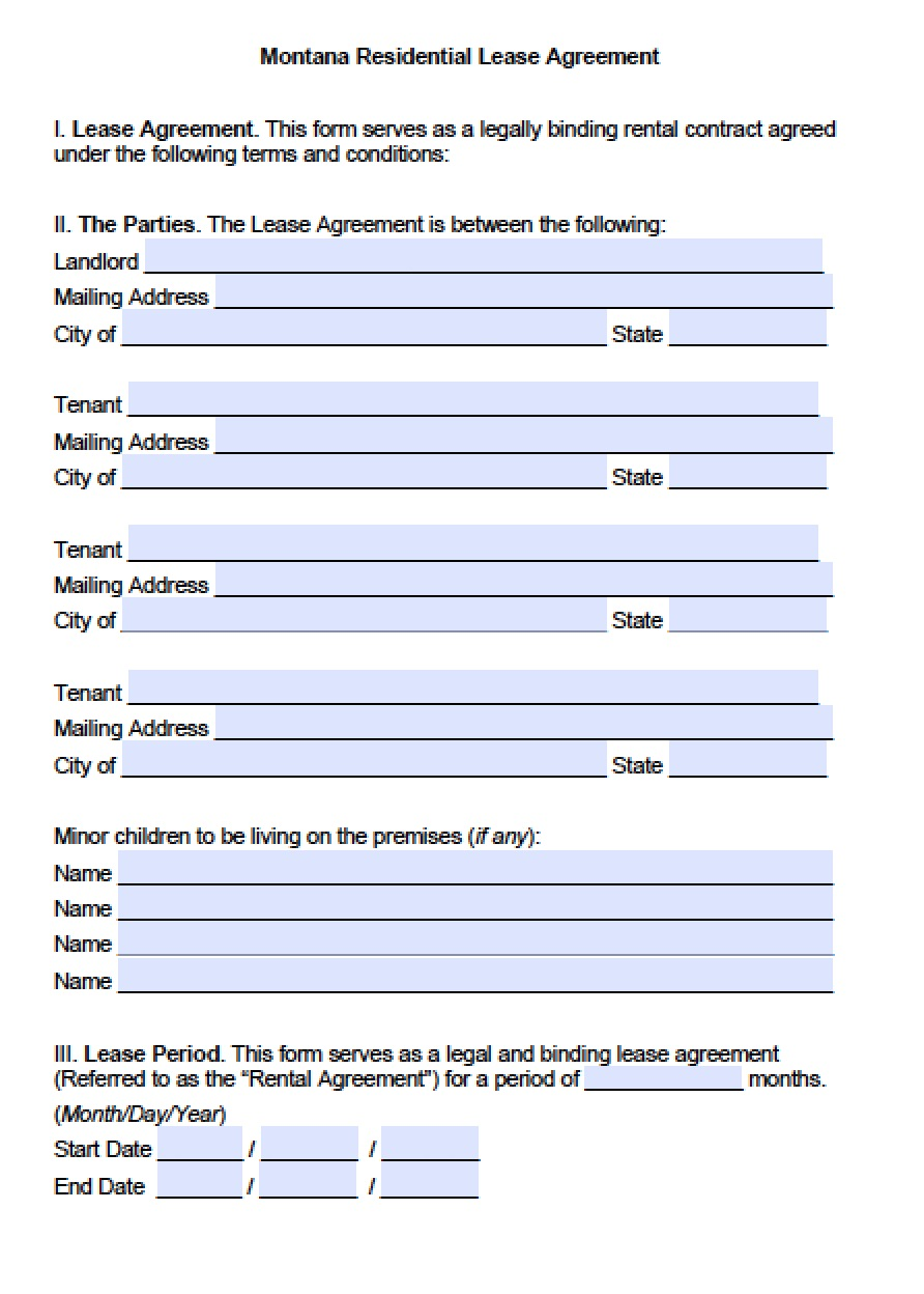 Free Montana Standard Residential Lease Agreement Template