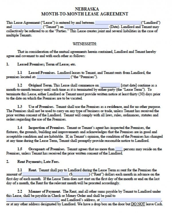 Free Nebraska Month To Month Lease Agreement Pdf Word C