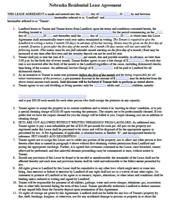 Free Nebraska Residential Lease Agreement Pdf Word C